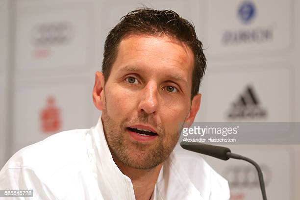 Henning Lambertz head coach of Germany's Olympic Swimming team talks to the media during a press conference at the 'Deutsche Haus Rio 2016' ahead of...