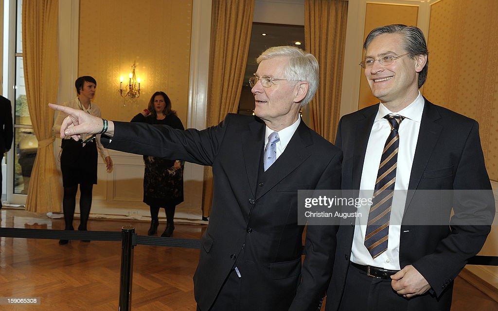Henning Voscherau and Alexander Otto attend New Years's reception of Hamburger Abendblatt at Hotel Atlantic on January 7, 2013 in Hamburg, Germany.