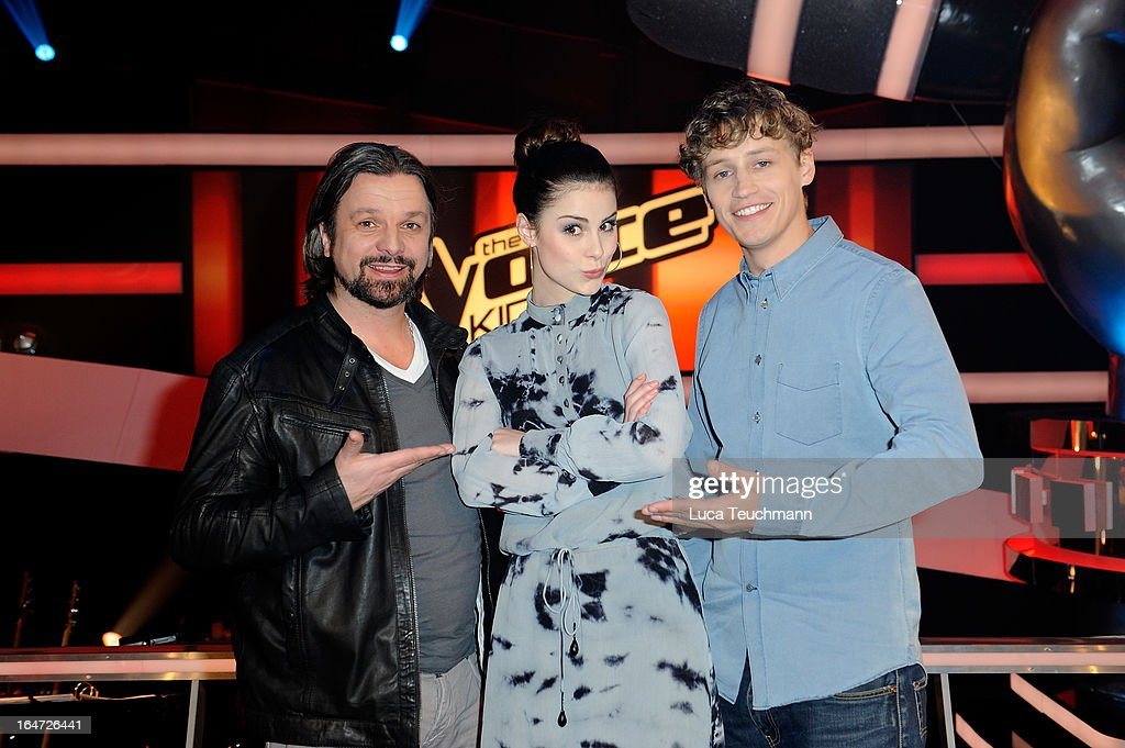 Henning Wehland, <a gi-track='captionPersonalityLinkClicked' href=/galleries/search?phrase=Lena+Meyer-Landrut+-+German+Singer&family=editorial&specificpeople=6837968 ng-click='$event.stopPropagation()'>Lena Meyer-Landrut</a> and <a gi-track='captionPersonalityLinkClicked' href=/galleries/search?phrase=Tim+Bendzko&family=editorial&specificpeople=7026712 ng-click='$event.stopPropagation()'>Tim Bendzko</a> attend 'The Voice Kids' Photocall at the Adlershof Studio on March 27, 2013 in Berlin, Germany.