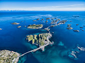 Henningsvaer, fishing port on Lofoten islands, scenic aerial view