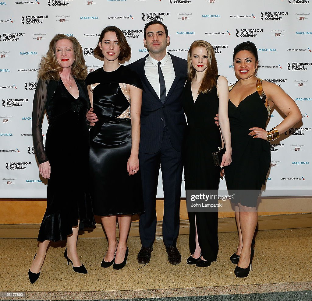 HennyRussell, <a gi-track='captionPersonalityLinkClicked' href=/galleries/search?phrase=Rebecca+Hall&family=editorial&specificpeople=778176 ng-click='$event.stopPropagation()'>Rebecca Hall</a>, Morgan Spector, <a gi-track='captionPersonalityLinkClicked' href=/galleries/search?phrase=Ashley+Bell+-+Actress&family=editorial&specificpeople=3090917 ng-click='$event.stopPropagation()'>Ashley Bell</a> and Maria Christina Oliveras attends the Broadway opening night of 'Machinal' at American Airlines Theatre on January 16, 2014 in New York, New York.