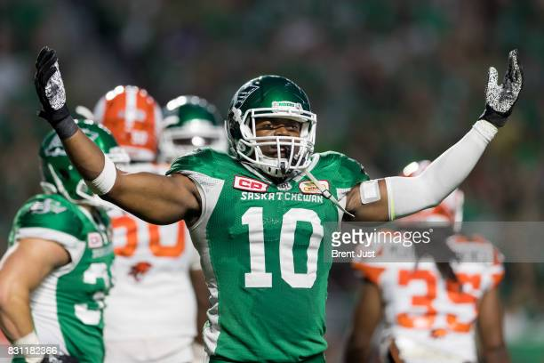 Henoc Muamba of the Saskatchewan Roughriders plays to the crowd late in the game between the BC Lions and the Saskatchewan Roughriders at Mosaic...