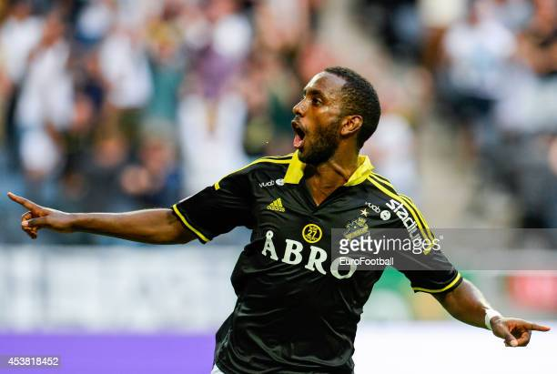 Henok Goitom of AIK celebrates during the Swedish Allsvenskan League match between AIK and Gefle IF at the Friends Arena on August 102014 in...