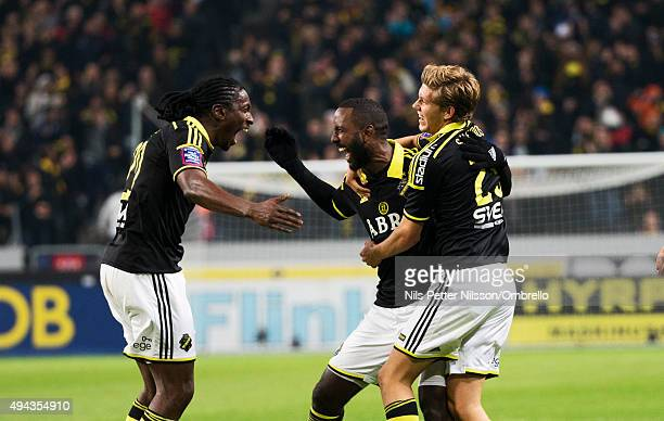 Henok Goitom of AIK celebrates together with Dickson Etuhu and Anton Saltros after scoring 10 during the Allsvenskan match between AIK and IFK...