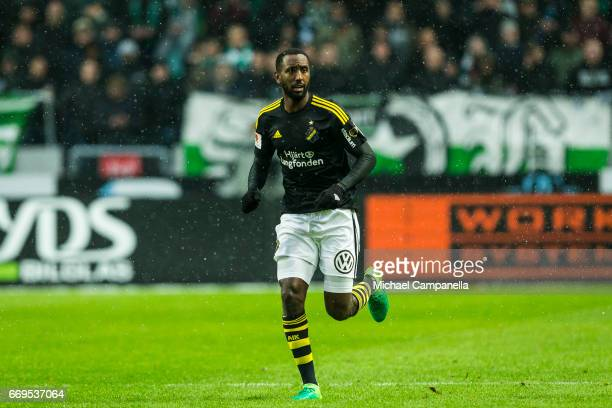 Henok Goitom of AIK during an Allsvenskan match between AIK and Hammarby IF at Friends arena on April 17 2017 in Solna Sweden
