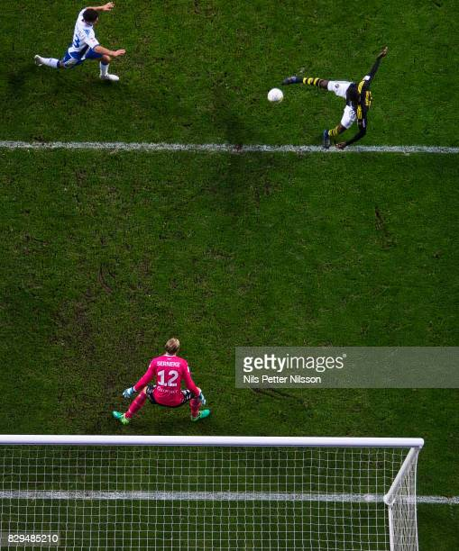 Henok Goitom of AIK has a ball in the net in the last minutes but the goal is waived off during the Allsvenskan match between IFK Goteborg and AIK at...