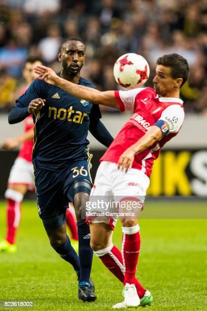 Henok Goitom of AIK in a duel with Rui Pedro da Rocha Fonte of SC Braga during a UEFA Europa League qualification match between AIK and SC Braga at...