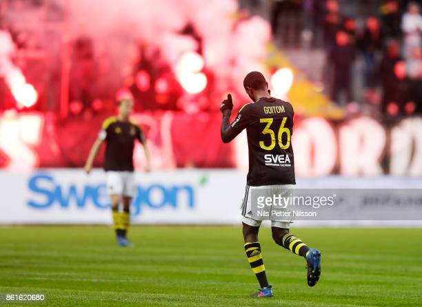 Henok Goitom of AIK reacts during the Allsvenskan match between AIK and Jonkopings Sodra IF at Friends Arena on October 15 2017 in Solna Sweden