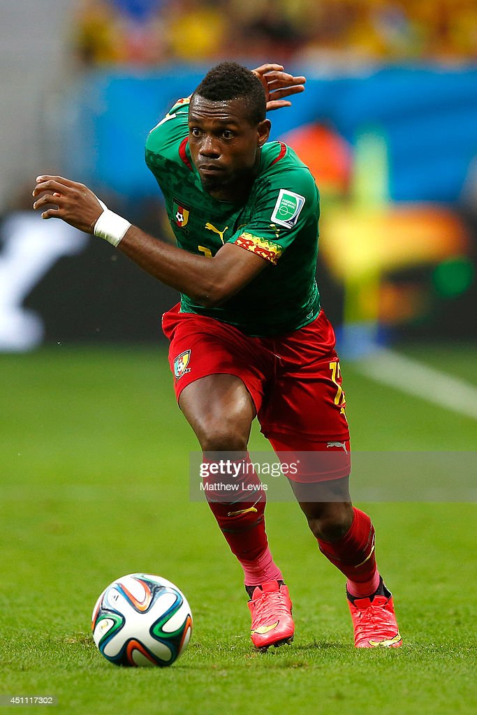 <a gi-track='captionPersonalityLinkClicked' href=/galleries/search?phrase=Henri+Bedimo&family=editorial&specificpeople=2293105 ng-click='$event.stopPropagation()'>Henri Bedimo</a> of Cameroon controls the ball during the 2014 FIFA World Cup Brazil Group A match between Cameroon and Brazil at Estadio Nacional on June 23, 2014 in Brasilia, Brazil.