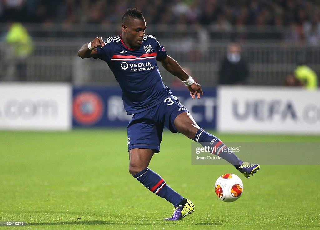 <a gi-track='captionPersonalityLinkClicked' href=/galleries/search?phrase=Henri+Bedimo&family=editorial&specificpeople=2293105 ng-click='$event.stopPropagation()'>Henri Bedimo</a> of Lyon in action during the UEFA Europa League quarter final match between Olympique Lyonnais OL and Juventus Turin at Stade de Gerland on April 3, 2014 in Lyon, France.
