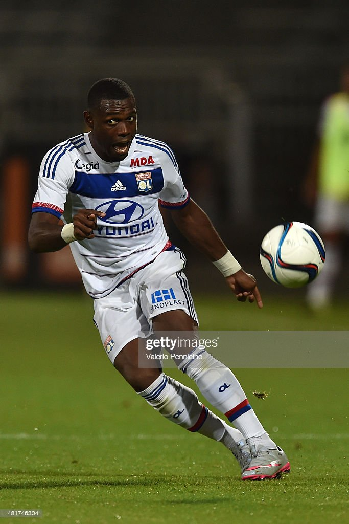 <a gi-track='captionPersonalityLinkClicked' href=/galleries/search?phrase=Henri+Bedimo&family=editorial&specificpeople=2293105 ng-click='$event.stopPropagation()'>Henri Bedimo</a> of Olympique Lyonnais in action during the preseason friendly match between Olympique Lyonnais and AC MIlan at Gerland Stadium on July 18, 2015 in Lyon, France.