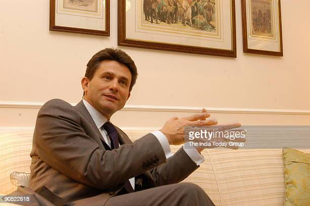 Henri De Castries Chairman Management Board and Chief Executive Officer AXA and Chairman AXA Financial poses during an interview at Taj Palace Hotel...