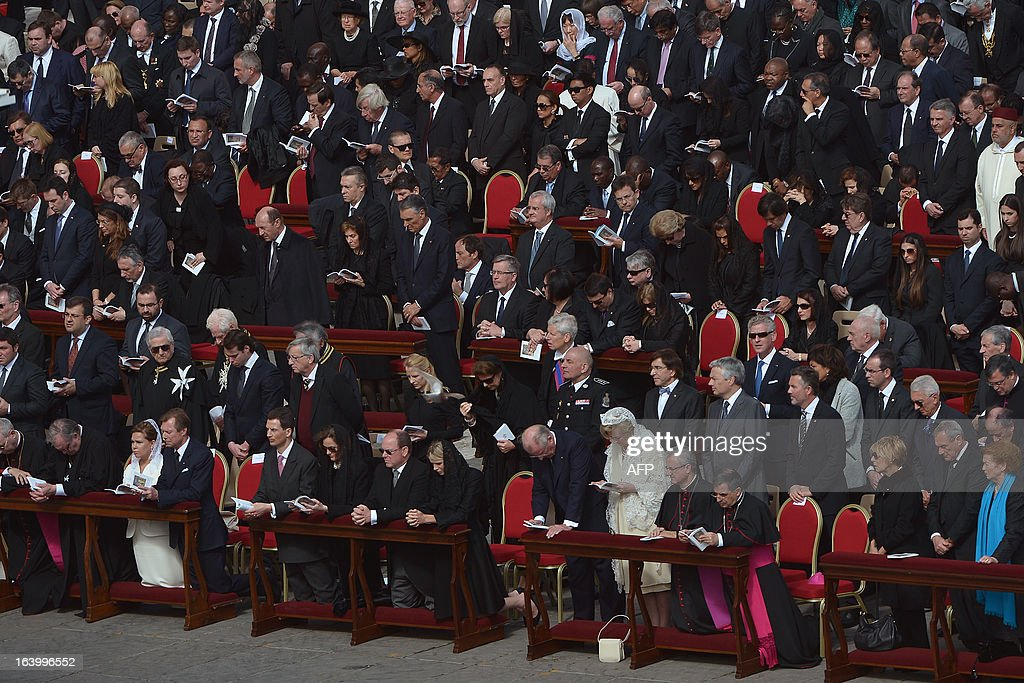 Henri, Grand Duke of Luxembourg and Duchess Maria Teresa (L) Prince Albert II of Monaco, Princess Charlene of Monaco (C) King Albert II of Belgium and Queen Paola of Belgium (R) attend the grandiose inauguration mass of Pope Francis on March 19, 2013 at St peter's square at the Vatican. Pope Francis swept into St Peter's Square on Tuesday to greet throngs of pilgrims before a sumptuous ceremony in which Latin America's first pontiff will receive the formal symbols of papal power.