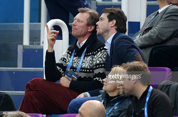 Henri Grand Duke of Luxembourg and his son Prince Felix of Luxembourg attend the Team Figure Skating event during the Sochi 2014 Winter Olympics at...