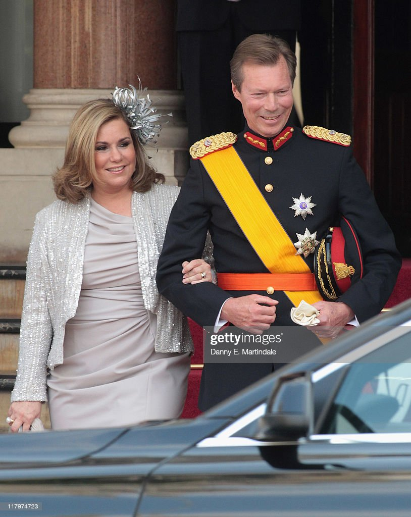 Henri, Grand Duke of Luxembourg and Maria Teresa, Grand Duchess of Luxembourg are is seen leaving the Hotol de Paris to attend the religious ceremony of the Royal Wedding of <a gi-track='captionPersonalityLinkClicked' href=/galleries/search?phrase=Prince+Albert+II+of+Monaco&family=editorial&specificpeople=201707 ng-click='$event.stopPropagation()'>Prince Albert II of Monaco</a> to <a gi-track='captionPersonalityLinkClicked' href=/galleries/search?phrase=Charlene+-+Princess+of+Monaco&family=editorial&specificpeople=726115 ng-click='$event.stopPropagation()'>Charlene</a> Wittstock in the main courtyard on July 2, 2011 in Monaco, Monaco.