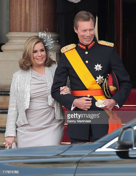 Henri Grand Duke of Luxembourg and Maria Teresa Grand Duchess of Luxembourg are seen leaving the Hotol de Paris to attend the religious ceremony of...