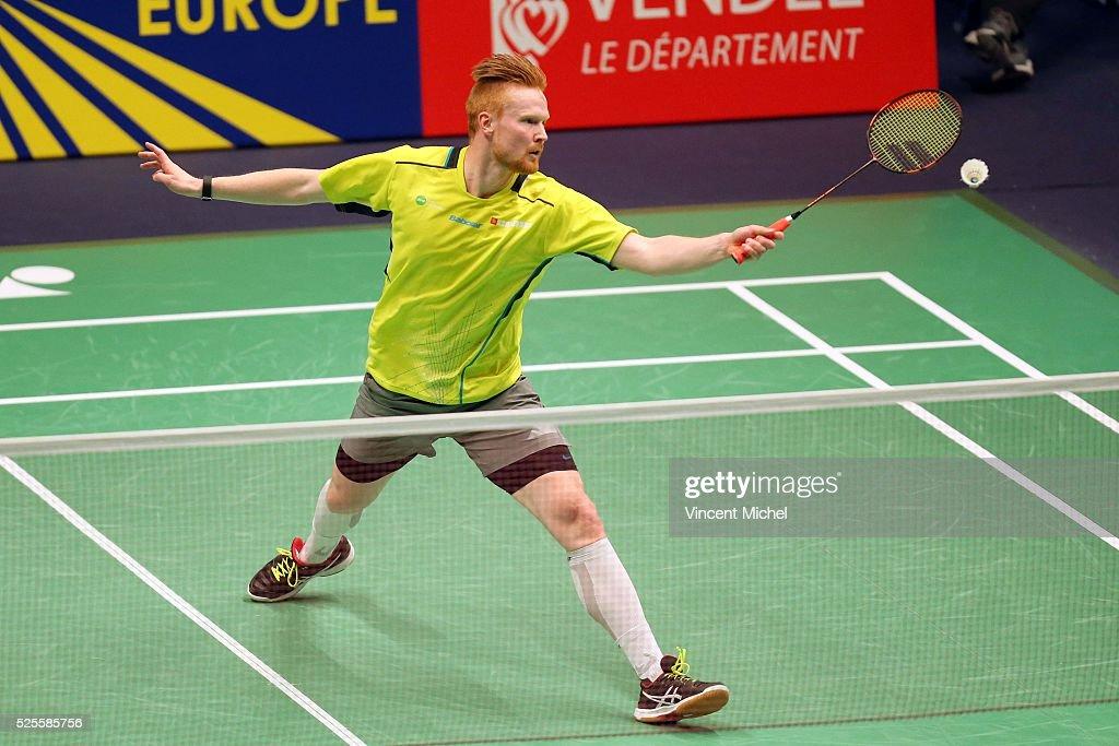 Henri Hurskainen of Sweden during Men's singles match at the 2016 Badminton European Championships on April 28, 2016 in Mouilleron-le-Captif, France.