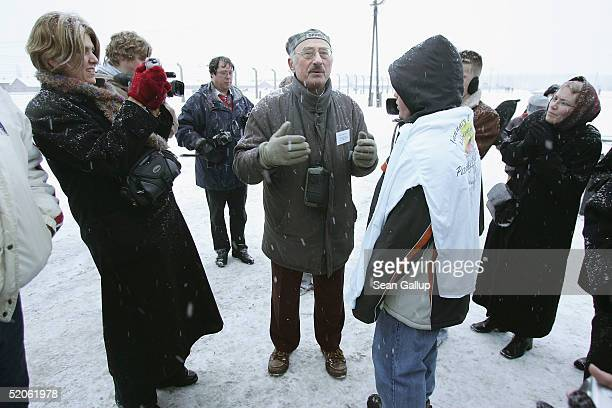 Henri Kichka a Belgian Jew who was imprisoned at Auschwitz aged 14 speaks to an American tour group from Terre Haute Indiana at the former...
