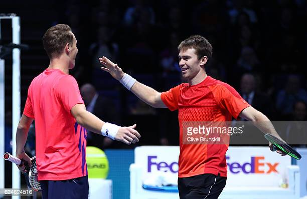 Henri Kontinen of Finland and John Peers of Australia celebrate victory during the Doubles Final against Raven Klaasen of South Africa and Rajeev Ram...