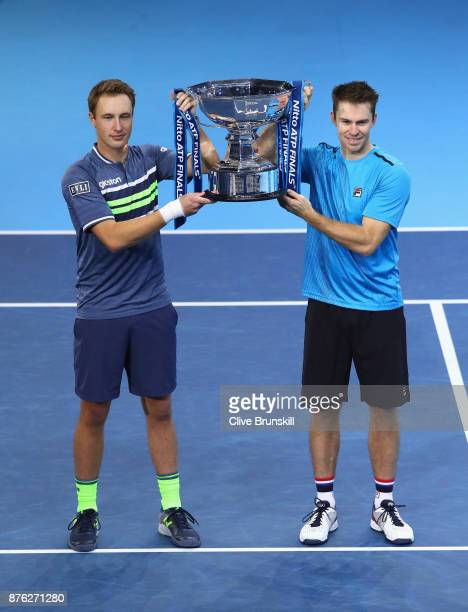 Henri Kontinen of Finland and John Peers of Australia celebrate victory following the doubles final against Marcelo Melo of Brazil and Lukasz Kubot...