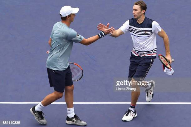 Henri Kontinen of Finland and John Peers of Australia celebrates after winning the Men's Doubles Semifinal mach against Jamie Murray of Great Britain...