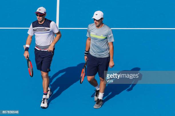 Henri Kontinen of Finland and John Peers of Australia compete during the Men's doubles quarterfinal match against Rohan Bopanna of India and Pablo...