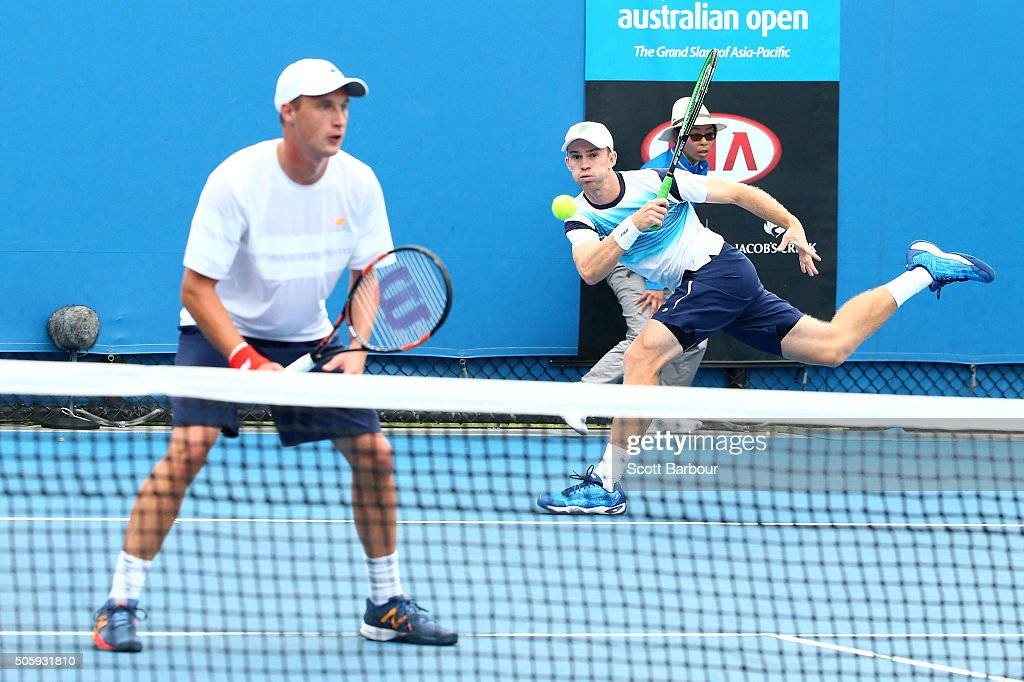Henri Kontinen of Finland and John Peers of Australia compete in their first round match against Luke Saville and JohnPatrick Smith of Australia...