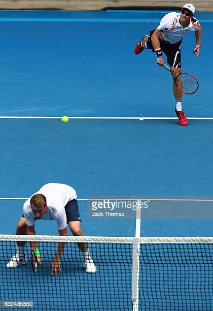 Henri Kontinen of Finland and John Peers of Australia compete in their third round match against Juan Sebastian Cabal and Robert Farah of Colombia on...