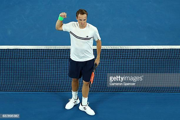 Henri Kontinen of Finland celebrates a point in his Men's Doubles Final with and John Peers of Australia against Bob Bryan of the United States and...
