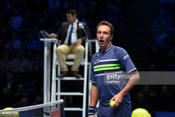 Henri Kontinen of Finland in action against Lukasz Kubot of Poland and Marcelo Melo of Brazil in the doubles final today Kontinen / Peers def Kubot /...