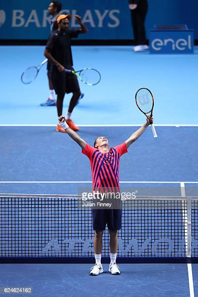 Henri Kontinen of Finland the partner of John Peers of Australia celebrates victory during the Doubles Final against Raven Klaasen of South Africa...