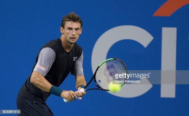 Henri Laaksonen of Switzerland competes against Dominic Thiem of Austria at William HG FitzGerald Tennis Center on August 1 2017 in Washington DC