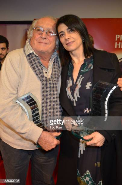 Henri Langlois 2012 award recipient director Georges Lautner and Hiam Abbass attend the Prix HenriLanglois 2012 Closing Ceremony at Mairie de...