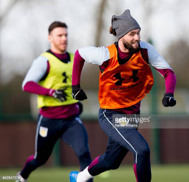 Henri Lansbury of Aston Villa in action during a Aston Villa training session at the club's training ground at Bodymoor Heath on February 17 2017 in...