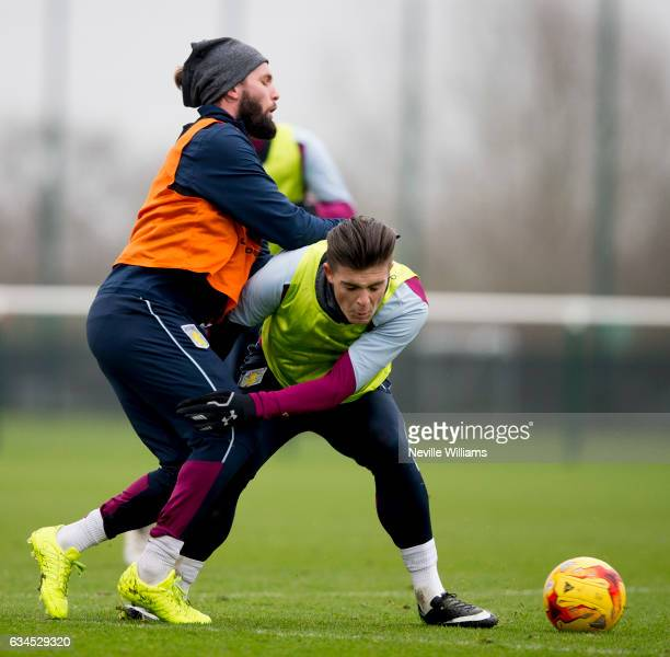 Henri Lansbury of Aston Villa in action with team mate Jack Grealish during a Aston Villa training session at the club's training ground at Bodymoor...