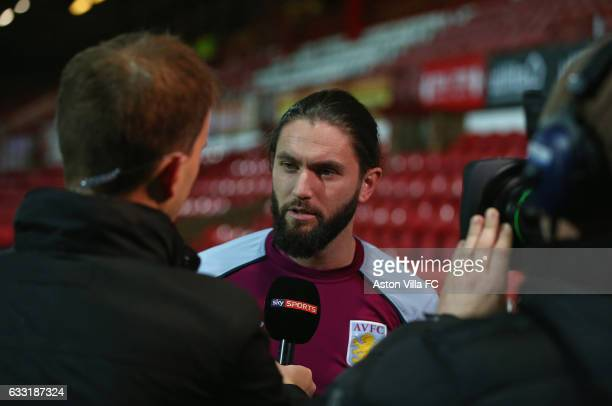 Henri Lansbury of Aston Villa talk to Sky Sports prior to the Sky Bet Championship match between Brentford and Aston Villa at Griffin Park on January...