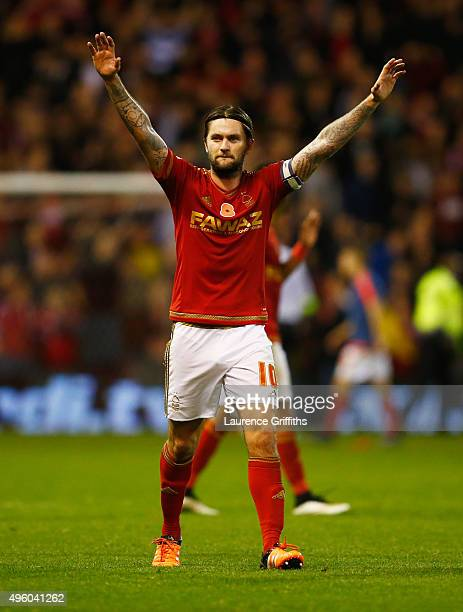 Henri Lansbury of Nottingham Forest celebrates victory after the Sky Bet Championship match between Nottingham Forest and Derby County at City Ground...