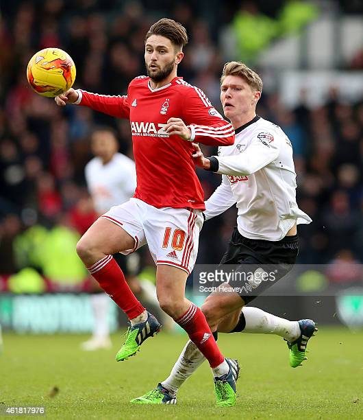 Henri Lansbury of Nottingham Forest during the Sky Bet Championship Match between Derby County and Nottingham Forest at iPro Stadium on January 17...
