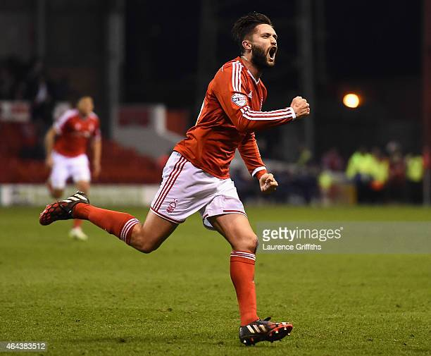 Henri Lansbury of Nottingham Forest roars with delight as he scores the second goal during the Sky Bet Championship match between Nottingham Forest...