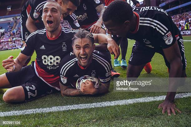 Henri Lansbury of Notts Forest celebrates scoring to make it 22 during the Sky Bet Championship match between Aston Villa and Nottingham Forest at...