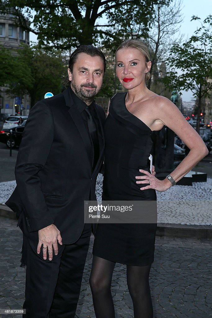 Henri Leconte and his wife Florentine attends the UNITAID Party at the Palais d'iena on April 1, 2014 in Paris, France.
