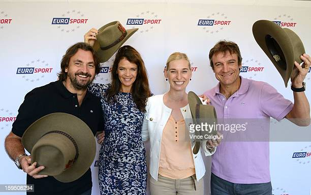 Henri Leconte Annabel Croft Barbara Schett and Mats Wilander with their Akubra Hats during the Eurosport tennis panel of experts at Hilton on the...