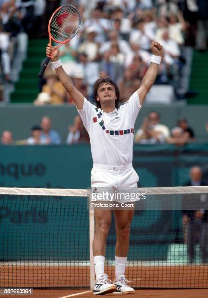 Henri Leconte of France celebrates during the French Open Tennis Championships at the Stade Roland Garros circa May 1992 in Paris France