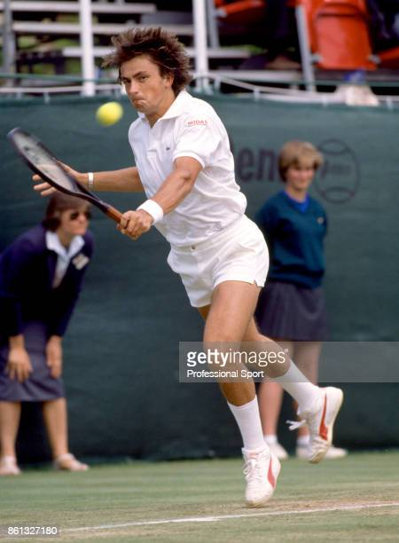 Henri Leconte of France in action against Vijay Amritraj of India during the mens singles Final match at the Bristol Open Tennis Championships on...