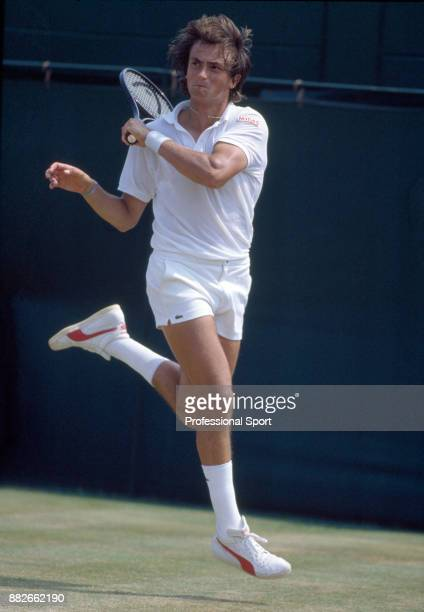 Henri Leconte of France in action during the Wimbledon Lawn Tennis Championships at the All England Lawn Tennis and Croquet Club circa June 1986 in...