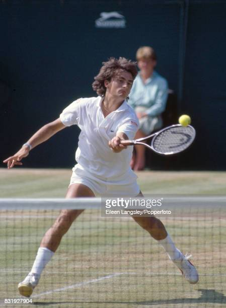 Henri Leconte of France in action in a men's singles match during the Wimbledon Lawn Tennis Championships in London circa July 1986 Lecconte was...