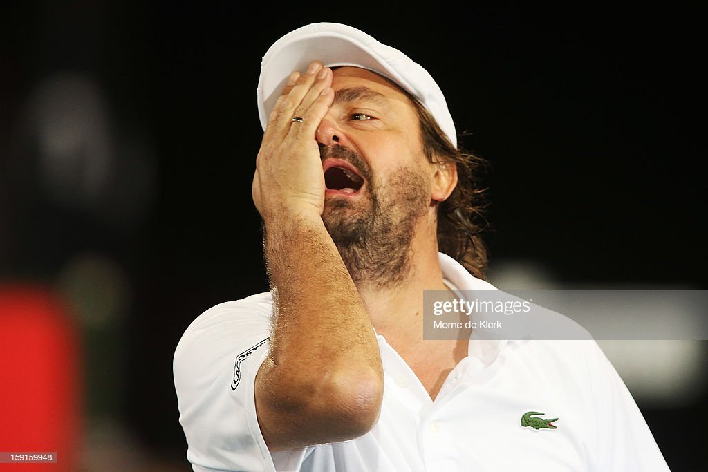 Henri Leconte of France reacts during the World Tennis Challenge at Memorial Drive on January 9, 2013 in Adelaide, Australia.