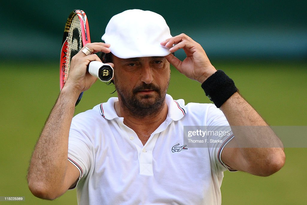 Henri Leconte reacts during the Warsteiner Champions Trophy of the Gerry Weber Open at the Gerry Weber stadium on June 4, 2011 in Halle, Germany.