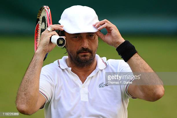 Henri Leconte reacts during the Warsteiner Champions Trophy of the Gerry Weber Open at the Gerry Weber stadium on June 4 2011 in Halle Germany