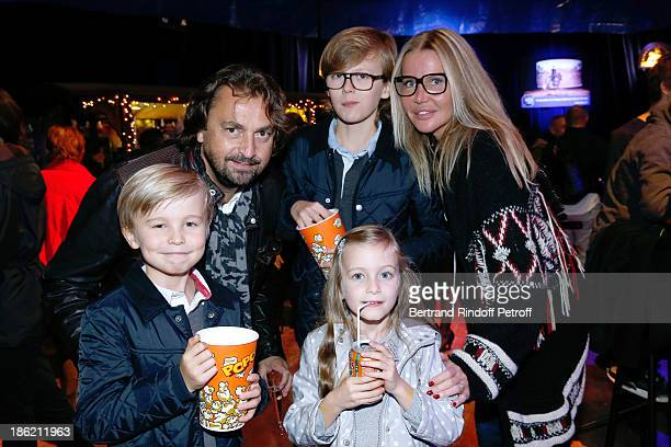 Henri Leconte with his wife Florentine Leconte and their children Ulysse Marylou and Jules attend 'Silvia' show from 'Cirque Alexis Gruss' Premiere...